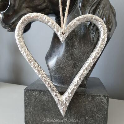 Textured Finish Small Aluminium Silver Hanging Heart Decoration