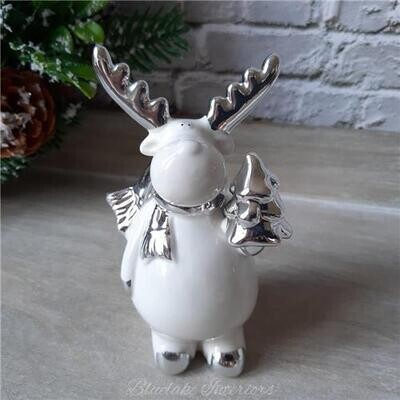 White and Silver Ceramic Christmas Reindeer Decoration