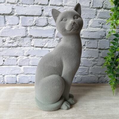 Grey Velveteen Sitting Cat Ornament
