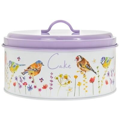 Garden Birds Round Metal Cake Tin