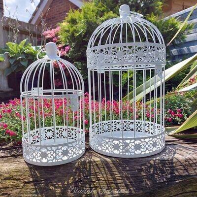 Set of 2 Decorative White Metal Birdcages