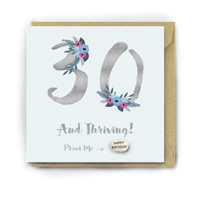30 And Thriving Birthday Card With Magic Growing Bean