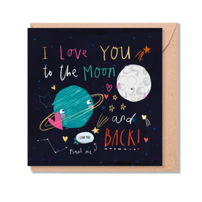 I love You To The Moon And Back Card With Magic Growing Bean