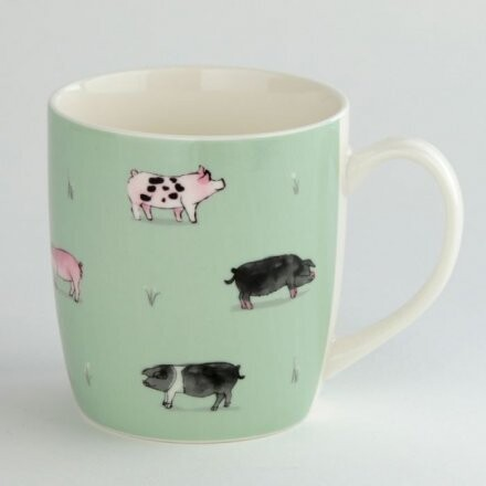 Willow Farm Porcelain Pig Design Mug Gift Boxed Country Farm Theme
