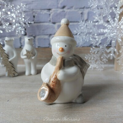 Ceramic Snowman Playing The Saxophone Christmas Ornament