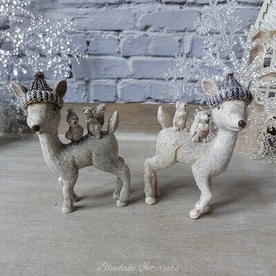 Set of 2 Glittery Reindeer With Woodland Friends Festive Christmas Ornaments