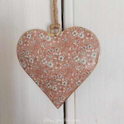 Small Pink Ditsy Floral Design Metal Hanging Heart