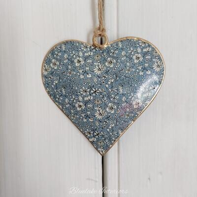 Small Blue Ditsy Floral Design Metal Hanging Heart