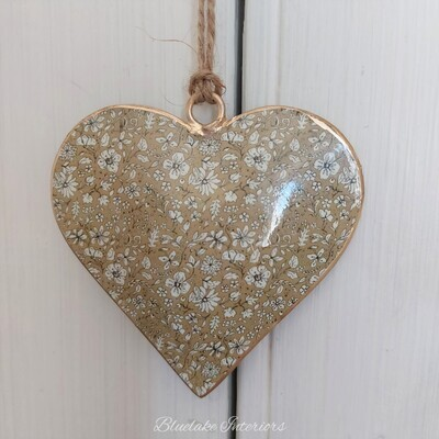 Small Green Ditsy Floral Design Metal Hanging Heart