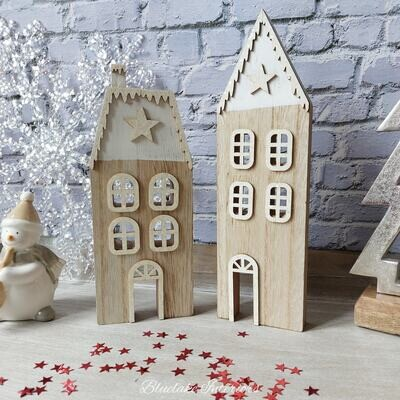 Set of 2 Christmas Village Houses White & Natural Wood With Snow Capped Roofs