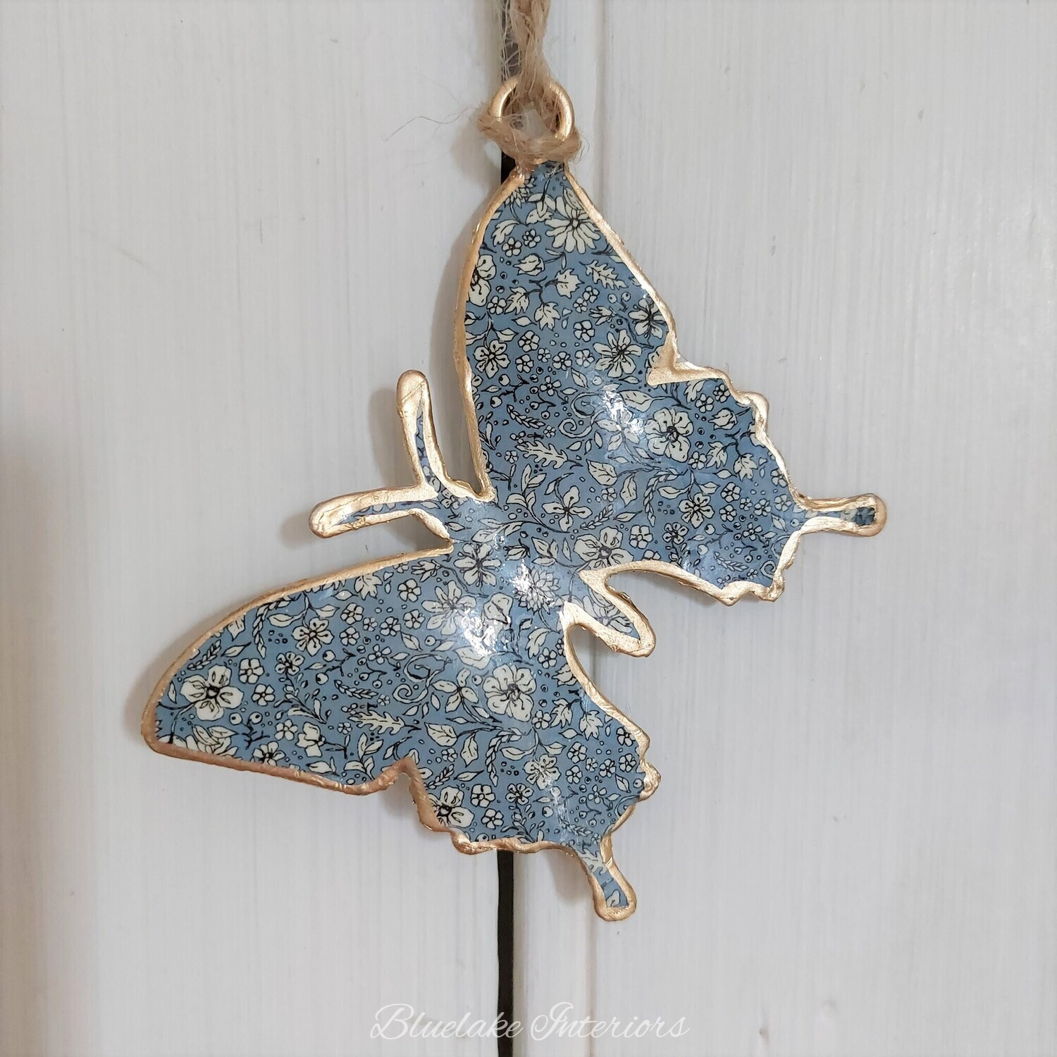 Small Blue Ditsy Floral Design Metal Hanging Butterfly