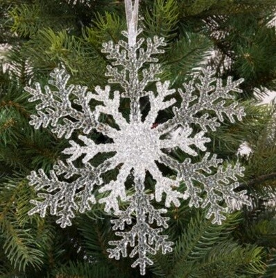 Clear Glitter Hanging Winter Snowflake Christmas Decoration