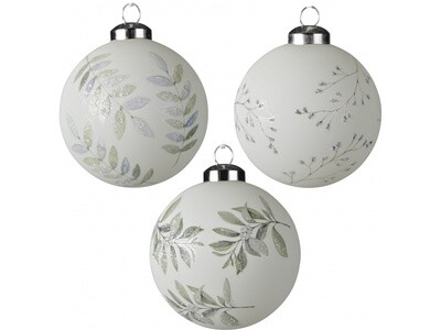 Set Of 3 White Foliage Printed Glass Christmas Baubles
