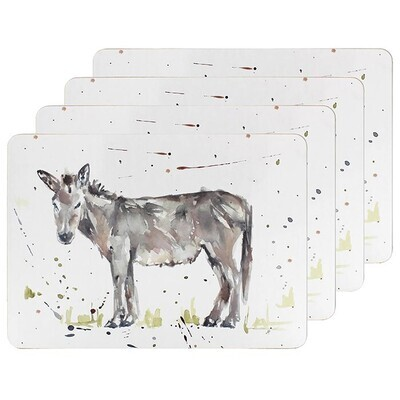 Set of 4 The Country Life Donkey Design Placemats Water Coloured Inspired Print