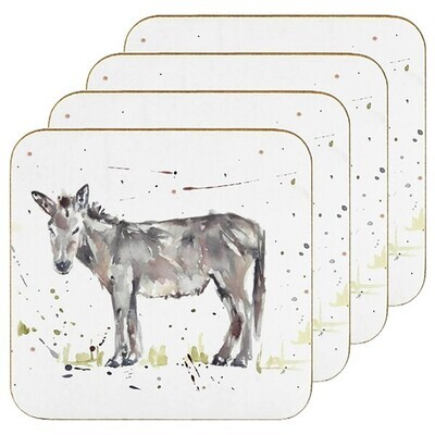 Set of 4 The Country Life Donkey Design Coasters Water Coloured Inspired Print