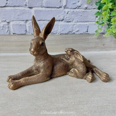 Reflections Bronze Hare & Baby Ornament Gift Boxed Figurine