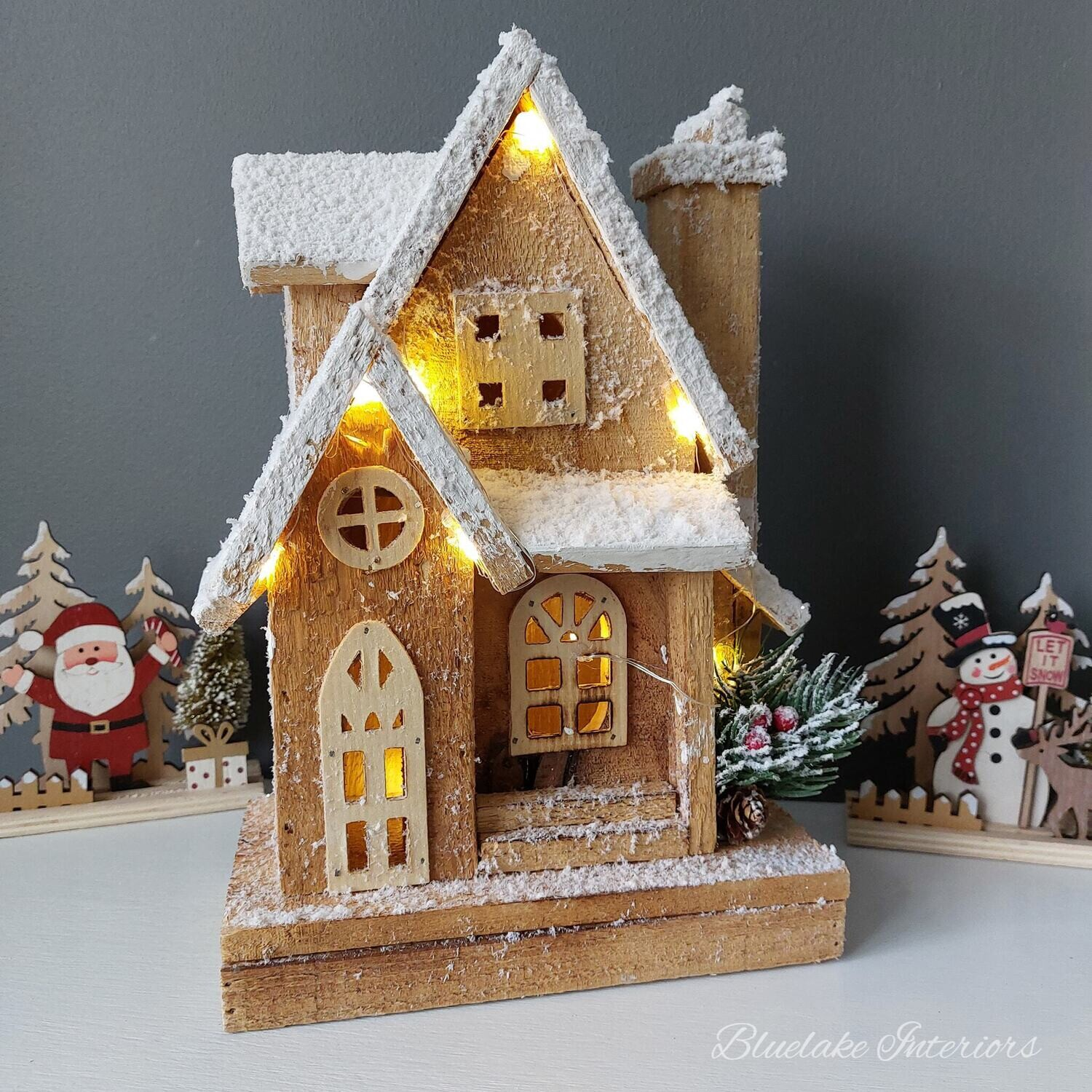 Rustic Wooden Cosy Christmas LED Porch House