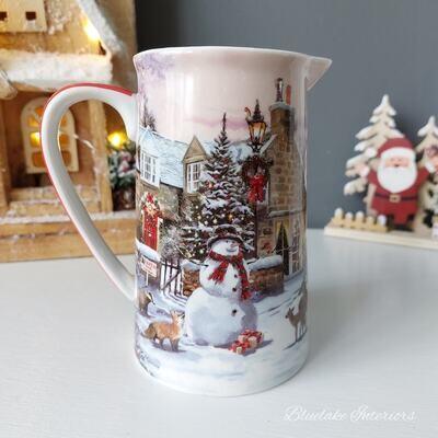 Sleigh, Reindeers & Snowman Christmas Scene Fine China Milk Jug