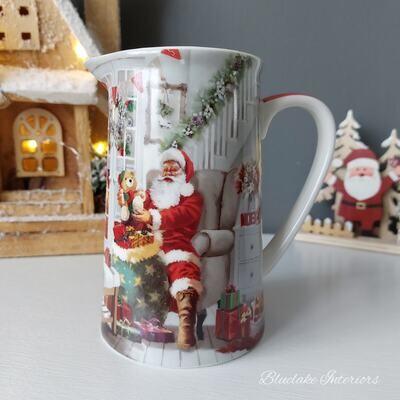 Traditional Father Christmas Scene Fine China Milk Jug