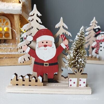 Father Christmas Santa & Trees Rustic Wooden Decoration
