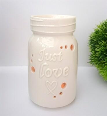 White Ceramic Just Love Wax Melt & Oil Burner Gift Boxed