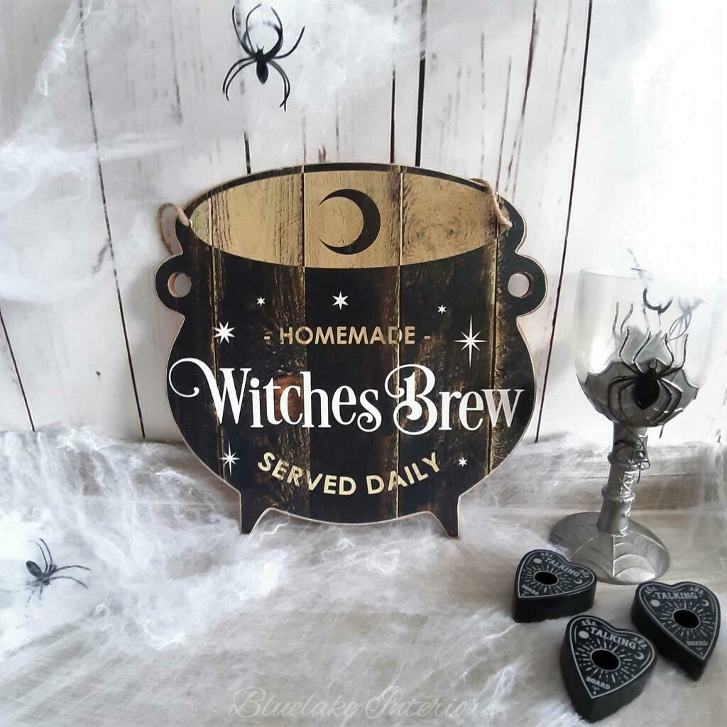 Halloween Homemade Witches Brew Served Daily Cauldron Wall Plaque