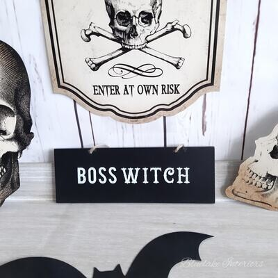 Boss Witch Black Wooden Halloween Small Plaque