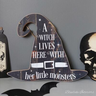 A Witch Lives Here With Her Little Monsters Halloween Wall Plaque