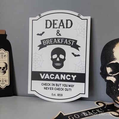 Dead & Breakfast Vacancy Hanging Halloween Wall Plaque Skull Bats Spider Webs