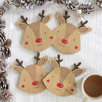 Set Of 4 Christmas Reindeer Coasters