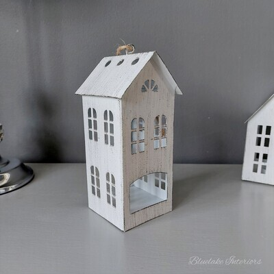 White Distressed Finish Metal House Tea Light Candle Holder