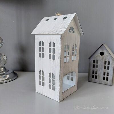 Large White Distressed Finish Metal House Tea Light Candle Holder