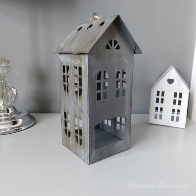 Large Grey Distressed Finish Metal House Tea Light Candle Holder