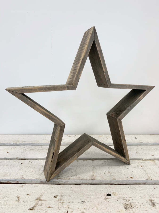 Large Rustic Grey Wash Wooden Chunky Star Christmas Home Decoration