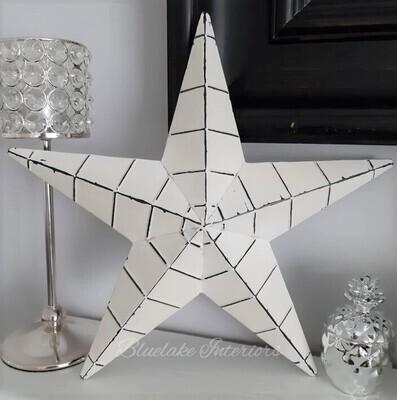 Ridged Decorative White Metal Amish Barn Star Distressed Finish