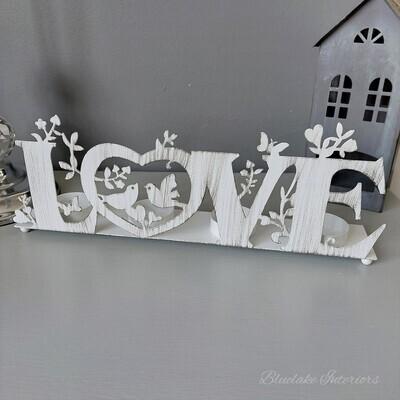 White Distressed Love Metal Tea Light Holder Candle Birds & Butterflies Detail