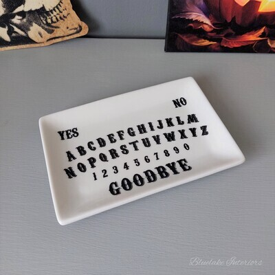 White Ceramic Spirit Board Ouija Coin Trinket Dish