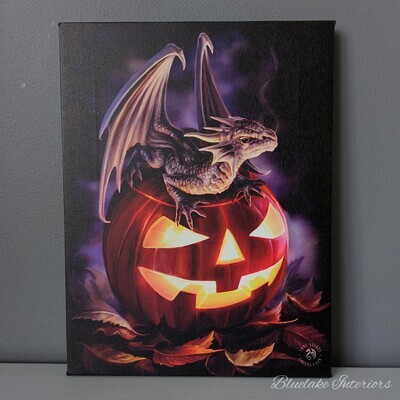 Trick or Treat Halloween Pumpkin & Dragon Canvas Wall Picture by Anne Stokes