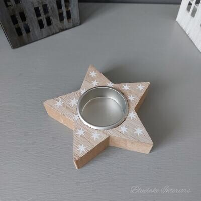 Rustic Christmas Star Tea Light Candle Holder With White Stars Home Fragrance