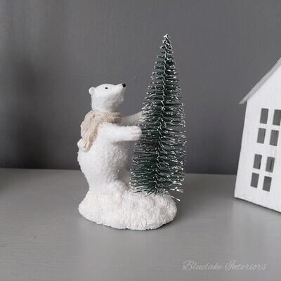Christmas Winter Polar Bear Decoration With Snowy Tree Festive Ornament