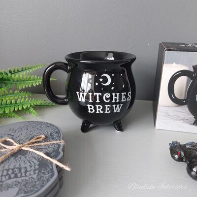 Witches Brew Black Cauldron Shaped Gift Boxed Halloween Mug
