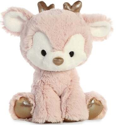 Cute Little Pink Plush Christmas Reindeer With Gold Antlers