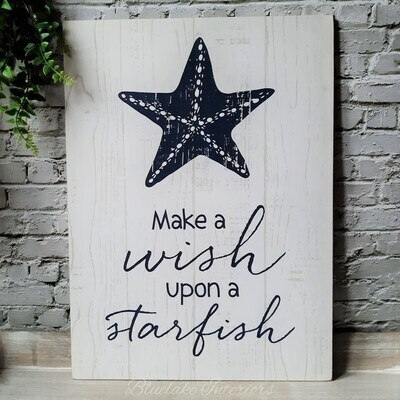 Make A Wish Upon A Starfish Blue & White Wood Effect Nautical Wall Plaque
