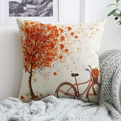 Gorgeous Autumnal Cushion Cover Bicycle Detail