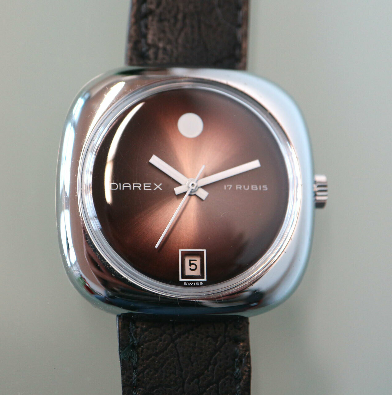 DIAREX Handaufzug Stahl, Swiss Made, Lederarmband schwarz, Zifferblatt braun