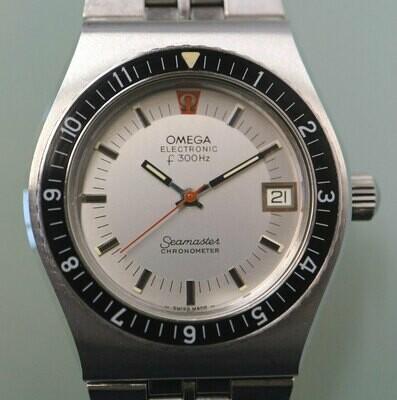 Omega Electronic f300 Hz Stimmgabel Seamaster Chronometer Taucheruhr, Edelstahl, 70er Jahre