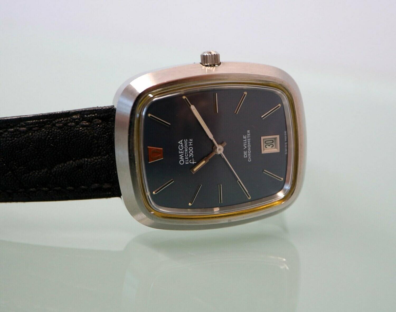 Omega Electronic f300 Hz Stimmgabel De Ville Chronometer, Edelstahl, 70er Jahre