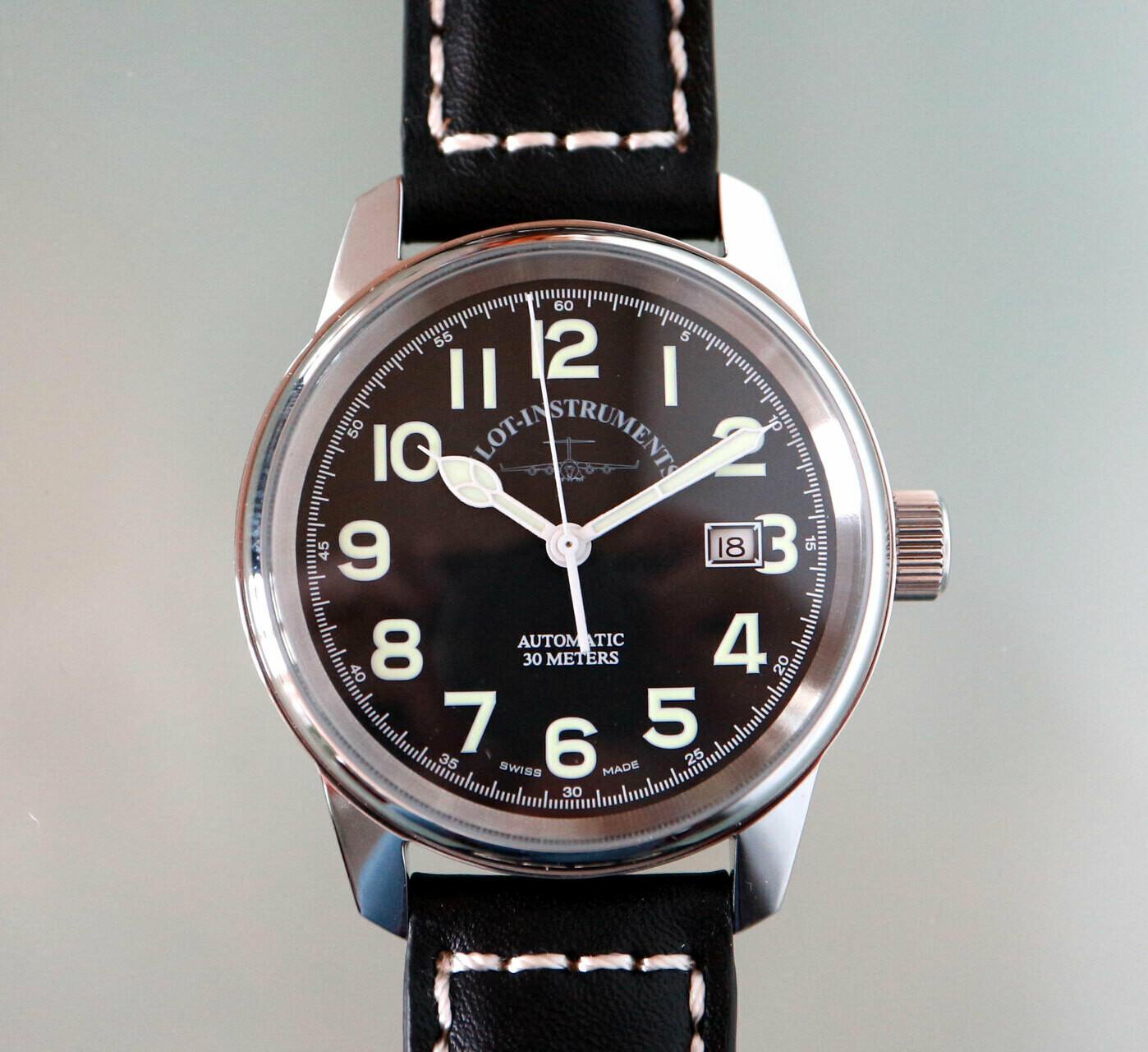 Zeno-Watch Classic Pilot Automatik - mit schwarzem Zifferblatt