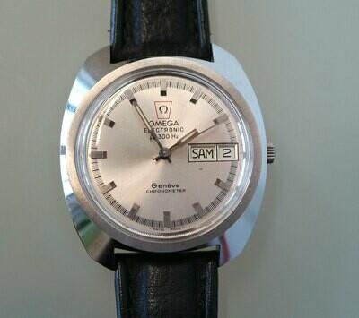 Omega Electronic f300 Hz Stimmgabel, Genève Chronometer, Stahl, 70er Jahre