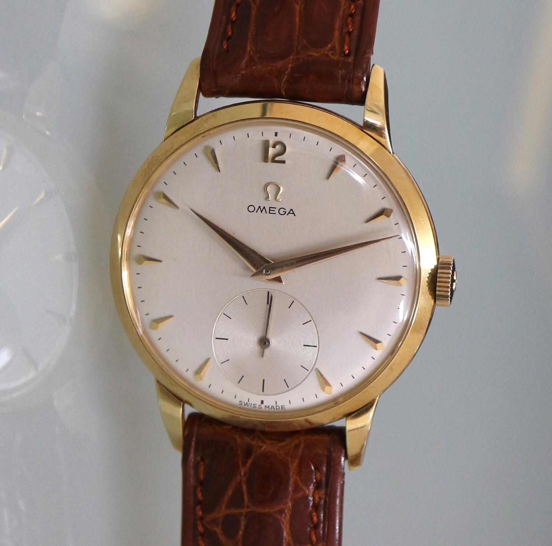 Vintage Omega Tresor Jumbo, 18 Karat Gold, Handaufzug, 50er Jahre